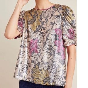NWT Anthropologie Marie Floral Sequin Top Sz 0